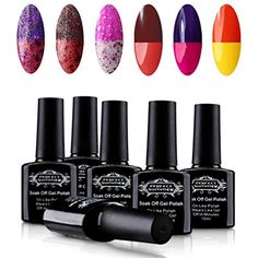 Perfect Summer Soak Off UV LED Gel Nail Polish, Mood Changing, Chameleon Temperature Colors Changes Thermal Lacquers, Pack of 6 x 10ml -Set