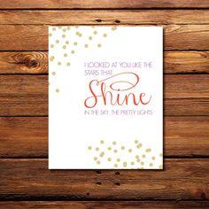 "Stars that Shine (Mary's Song - Taylor Swift Lyrics) 8"" x 10"" Downloadable Print"