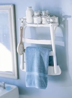 very cute idea for an old chair in a bungalow or beach style bathroom