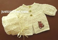 Free baby crochet pattern for preemie coat and bonnet set. http://www.justcrochet.com/preemie-coat-bonnet-usa.html #justcrochet