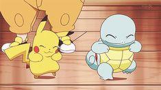 Pikachu and squirtle Pokemon Gif, Pokemon Memes, Pokemon Show, Pokemon Fan Art, Nintendo Pokemon, Pikachu Pikachu, Best Friend Test, Pokemon Original, Nerd Crafts