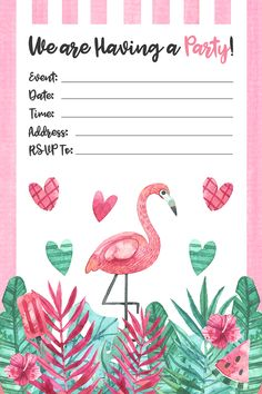Free Printable Flamingo Party Pack - The Cottage Market Flamingo Craft, Pink Flamingo Party, Flamingo Birthday, Spa Birthday Parties, Birthday Party Invitations, Wedding Invitations, Party Decoration, Tropical Party, Party Packs