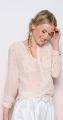 Beautiful watermelon silk print top from Des Petits Hauts in a stunning off white - also coming in black