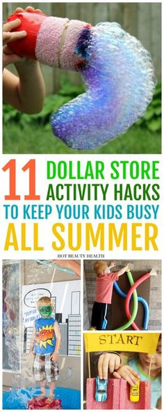 These at home hacks for kids are some of the best Dollar Store DIY ideas that are fun and entertaining! These are great ways to save money on DIY projects for your kids this summer! Click pin to see my top outdoor activities to beat kids' boredom. Summer Crafts For Kids, Summer Kids, Diy For Kids, Hacks For Kids, At Home Crafts For Kids, Diy Projects For Kids, Fun Ideas For Summer, Fun Things For Kids, Spring Crafts