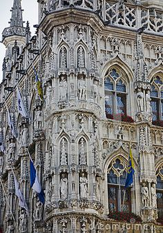 Town Hall at grand place, grote markt in Leuven, Flanders, Belgium