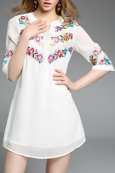 Embroidered Half Sleeve Dress