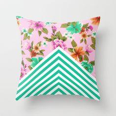 Tropical Floral Chevron Throw Pillow by Zeke Tucker - $20.00