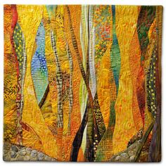 Hilde Morin - Fiber art Curves and more class - Selina Homa Fiber Art Quilts, Textile Fiber Art, Quilt Art, Tree Quilt, Small Quilts, Mini Quilts, Colorful Quilts, Quilt Modernen, Landscape Quilts