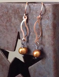 Copper and Gold Earrings on Etsy, $16.00