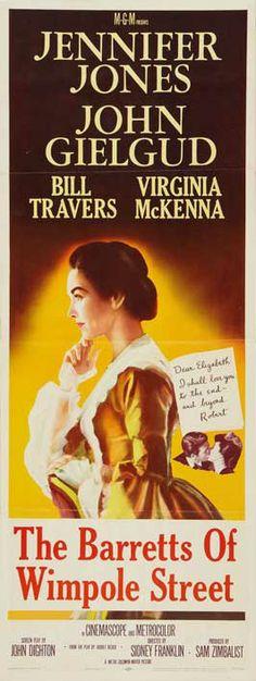 The Barretts of Wimpole Street (1957)Stars: Jennifer Jones, John Gielgud, Bill Travers, Vernon Gray, Virginia McKenna, Leslie Phillips, Richard Thorp ~  Director: Sidney Franklin