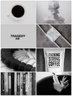 Black nails, coffee, books, and eyepatches will all within a second remind me of Tokyo Ghoul, also that bug!