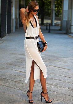White Plain Shoulder-Strap U-neck Backless Side Slits Chiffon Midi Dress - Midi Dresses - Dresses