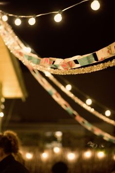 Lights and paper chains -- such a good decoration idea! Wedding Reception, Our Wedding, Dream Wedding, Wedding Venues, Wedding Stuff, Wedding Bells, Wedding Photos, Wedding Sparklers, Tent Wedding