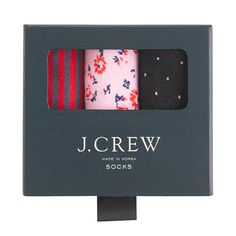 Crew for the Gift socks three-pack for Women. Find the best selection of Women Underwear & Socks available in-stores and online. Underwear Packaging, Clothing Packaging, Jcrew Gifts, The Bell Jar, Bell Jars, Seasonal Celebration, A Little Party, Italian Leather Shoes, J Crew Men
