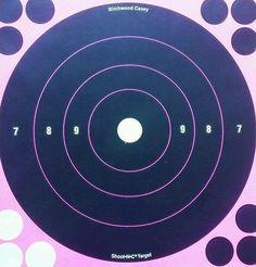 """PINK 8"""" SHOOT-N-C TARGETS , 12 TARGET REPAIR(9 black 3 green) BIRCHWOOD CASEY"""