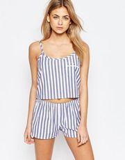 Boohoo – Gestreiftes Pyjamaset mit Oberteil und Shorts