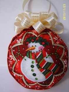 Whimsical Snowman Quilted Ornament by JCCrafts on Etsy, $18.00