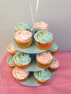Aqua pink gold, first birthday cupcakes October birthday