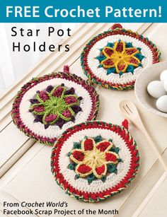 """Star Pot Holders from Crochet World's Facebook Free Scrap Project of the Month. Click on the photo to access the free pattern. """"Like"""" the Crochet World Facebook page so you don't miss out on a single monthly pattern: https://www.facebook.com/CrochetWorldMag"""
