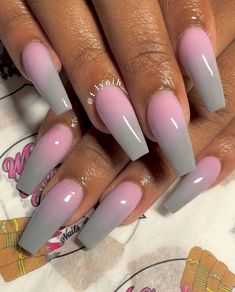 40 fall ombre nails you`ll want to copy Nails Yellow, Pink Ombre Nails, Pink Acrylic Nails, Gray Ombre, Gorgeous Nails, Pretty Nails, Ombre Nail Designs, Nagel Gel, Nails Inspiration
