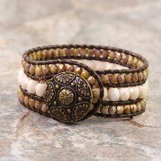 CIJ Sale Brown Leather Cuff Bracelet Bohemian Fashion Western Style Wrap Cream Bronze Boho Jewelry Made To Order Custom Bracelet Hippie