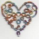 Heart Clover or Fringe Element Heart with free pattern (pdf) . Needle Tatting, Needlecrafts, Tatting Patterns, Fiber Art, Crocheting, Needlework, Free Pattern, Knit Crochet, Beaded Bracelets