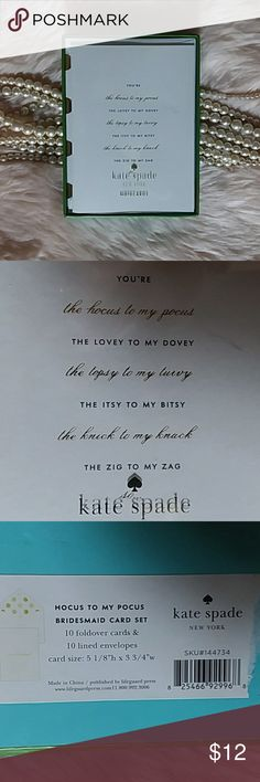 Kate Spade Hocus Pocus Card Set These Kate Spade note cards are simply the best cards available. The paper quality is exceptional. Each envelope is foil lined and each card is on high quality cardstock. This new, unopened set includes 10 cards and 10 envelopes. kate spade Other