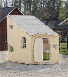 1週間で組立られお財布と環境に優しい北欧デザインの小型ログハウス - GIGAZINE