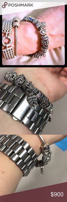 Authentic Pandora Bracelet Authentic Pandora Bracelet. Everything in pictures is included. Only one charm is NOT pandora. It is the fish charm. Everything else including the bracelet is authentic. All my own personal collection. Pandora Jewelry Bracelets