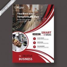 Red flyer template Premium Psd Graphic Design Brochure, Brochure Layout, Graphic Design Posters, Free Poster, Poster Art, Leaflet Template, Leaflet Design, Booklet Design, Modele Flyer