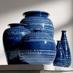 Interior Design Trends: Blue. Ethan Allen's take on blue decor. Romano Round Blue Vase - Ethan Allen US