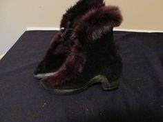 Vtg Pr Ladies black Velveteen Over Shoes Galoshes by ThenForNow