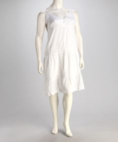 Take a look at this White Button Plus-Size V-Neck Dress by Unity on #zulily today!