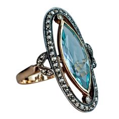 Antique Aquamarine Rose Diamond Long Ring | From a unique collection of vintage cluster rings at http://www.1stdibs.com/jewelry/rings/cluster-rings/