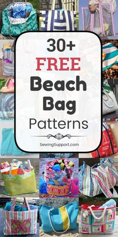 Free Beach Bag Patterns - - Beach Bag DIY: Over 30 free beach bag patterns, tutorials, and diy sewing projects. Great for Summer! Lots of instructions for how to make a beach bag, canvas and mesh styles included. Bag Pattern Free, Bag Patterns To Sew, Sewing Patterns Free, Free Sewing, Diy Sewing Projects, Sewing Hacks, Sewing Tutorials, Bag Tutorials, Free Beach