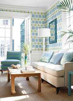 """designmeetstyle: """"Living room full of personality. Use larger scale patterns like above to create a wow in your room. How? By mixing patterns in complimentary hues and balancing the room with wall art..."""