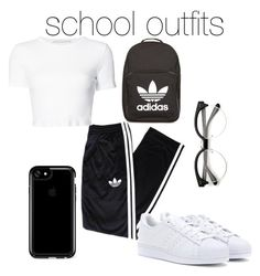 """school outfits #46- black and white sporty"" by qimmig on Polyvore featuring Rosetta Getty, adidas Originals, adidas and Speck"
