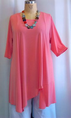 Plus Size Tunic Coco and Juan Plus Size Asymmetric Tunic Top Coral Knit Size 1 (fits 1X,2X)   Bust 51 inches
