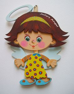 Personalized custom wooden hand painted angel von Under Angel Wings auf DaWanda.com