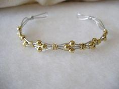 Bracelet Silver and Gold Wire Wrapped por westminsterstudios ✿Teresa Restegui http://www.pinterest.com/teretegui/✿
