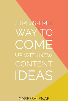Creating content can be simple or forever a headache. I'm sharing with you my best tip for creating content the stress-free way via @CaressaLenae