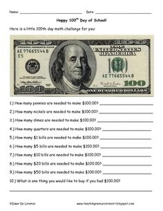This is a brief math challenge for the Day of School! Students must find out how many pennies are in a 100 dollar bill all the way to how ma. Fun Math, Math Activities, Math Enrichment, Math Math, Math Resources, Math Classroom, 3rd Grade Classroom, Classroom Ideas, Classroom Helpers
