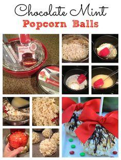 Chocolate Mint Popcorn Balls - on www.time2saveworkshops.com #recipes