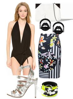 Look for a one-piece that isn't too smooth or sporty, in a fabric that's not overly shiny — something with a little looseness or draping is usually good. Pair it with a body-con skirt or something with a high slit, and complete the look with a great pair of heels.