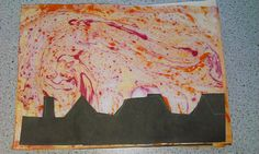Marbling Fire Silhouettes By using marbling inks in water, my year 1 and 2 classes created wonderful fire of London pictures. Arts And Crafts For Adults, Arts And Crafts House, Easy Arts And Crafts, Arts And Crafts Projects, Great Fire Of London, The Great Fire, Arts And Crafts Interiors, Silhouette Pictures, Arts And Crafts Storage