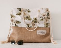 Tropical Beach Bag Large Beach Tote Vintage Hibiscus Fabric Recycled Upcycled