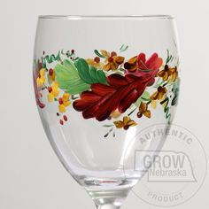 "Creative Hand Thanksgiving Fall Leaves Hand Painted Wine Glass: These distinctive fall glasses are hand painted in beautiful fall colors. Use them to enhance your fall tables with your favorite beverage. These glasses are a great wedding or birthday gift. Hand wash. Glasses are 8 1/4 oz and are 7 3/4"" tall. Price is per glass.    Price: $14.95"