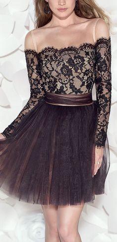 Off shoulder lace + tulle dress