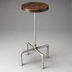 Butler 5093330 Industrial Chic Piper Wood and Metal Bar Stool