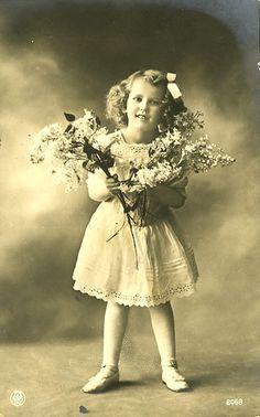 Vintage Postcard ~ Flower Girl   Flickr - Photo Sharing!